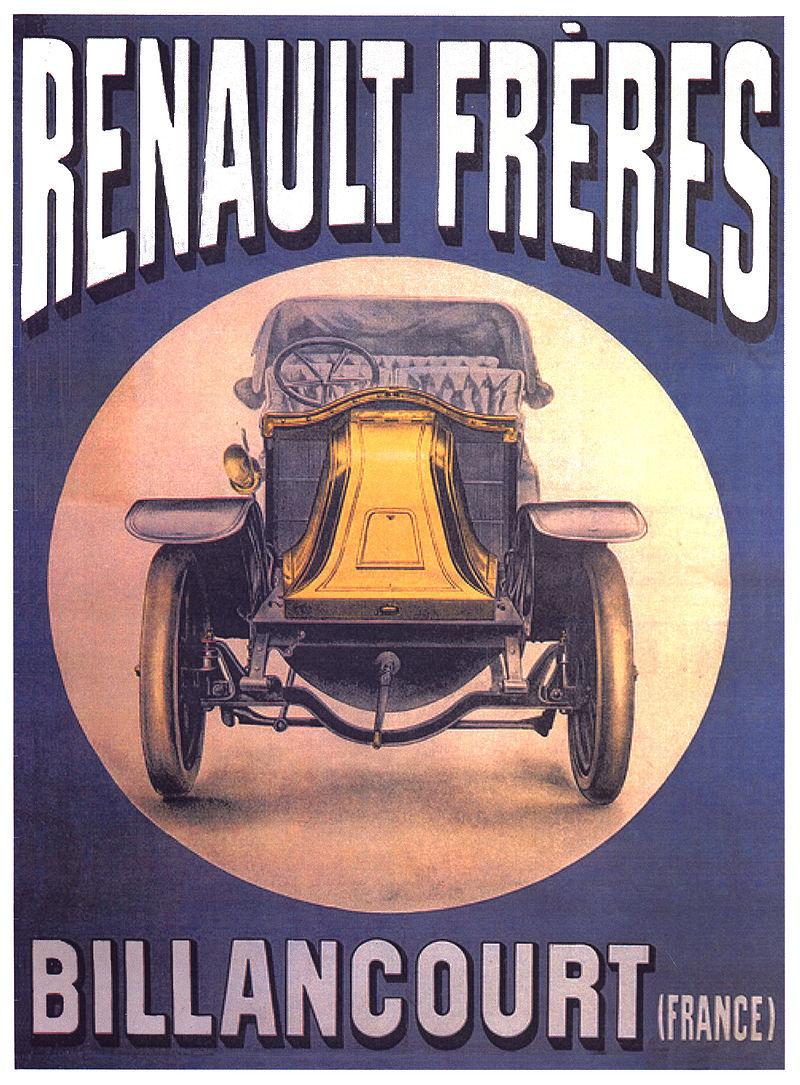 Publicité des voitures Renault Frères